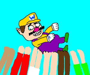 Wario is lifted by the crowd.