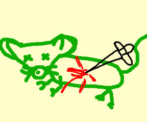 Green rat stabbed to death