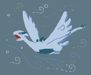 Lugia (pokemon) trapped in a Van Gogh painting