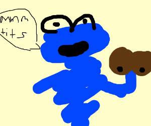creepy cookie monster holding a boob cookie?
