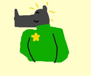 A rhino in a green shirt with a gold star badg
