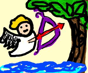 Cherub shoots an arrow to a tree