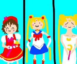 Sakura, Sailor Moon and Queen Serenity