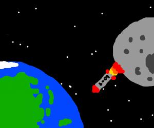 The moon shoots back