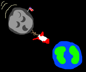 rocket pulling moon to earth