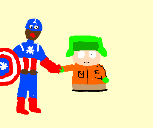 Black Captain America & Kyle from SP hold hand