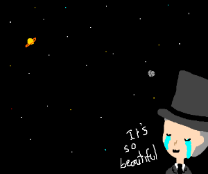 Astrocat cries at space's beauty