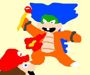 Ludwig von Koopa fights Mario.