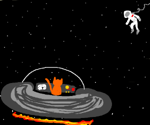 Cat pilots spaceship towards distant Astronaut