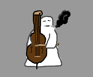 Ghost playing a cello and smoking a blunt