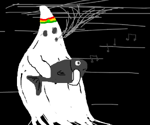 Ghost smeks weed while playing bass