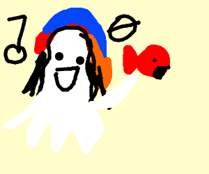 Reggae Ghost, holding a fish is singing a song