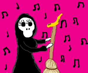 female death dances with banana on broom