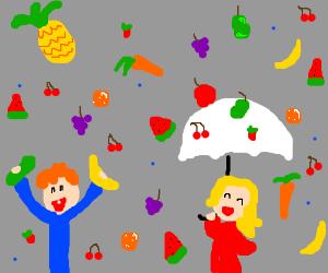 Kids love that it rains fruits and veggies