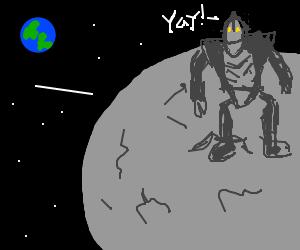 Iron Giant flies to the moon. Seems happy...