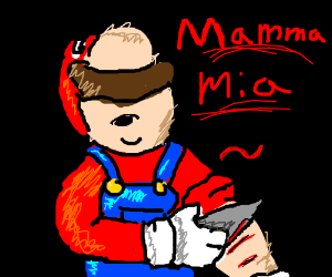 Mario starts cutting himself for attention.