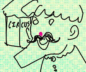 Unpainted clown w pink nose, mustache,Lrg chin