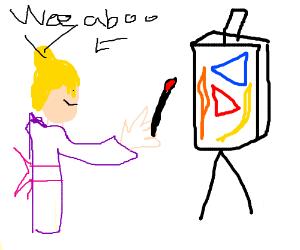 Blonde girl in kimono paints modern art