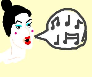 Geisha copies Hundertwasser while singing