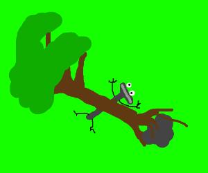 Bic razor mascott trapped under a fallen tree.