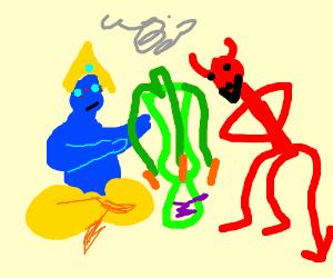 Kali fights the demon Raktabija - Drawception
