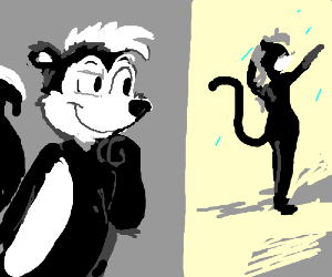 pepe le pew sees something of interest