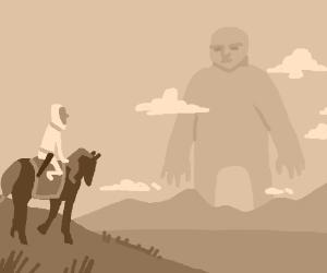 Man riding horseback encounters a giant