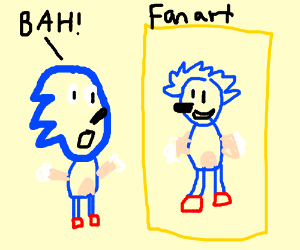 Sonic the Hedgehog is disturbed by fanart