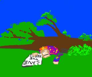 Ironic tree fall!