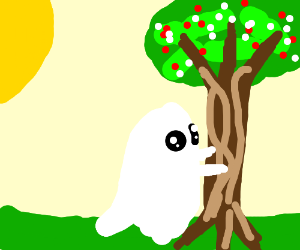 A ghost hugs a blossoming cherry tree
