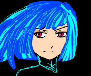 Anime girl with blue hair, pink eyes. :P