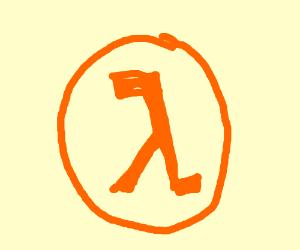 half life symbol leans right