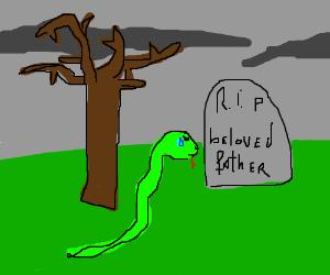 Snake visits fathers grave.