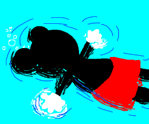 mickey mouse can't swim, he is drowning !