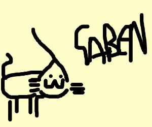 Half Life 3 logo as a cat