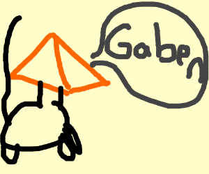 """Cat with Tingle's head saying """"Gaben"""""""