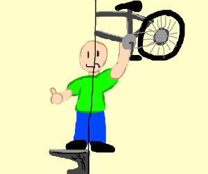 happy on an anvil, unhappy lifting a bike