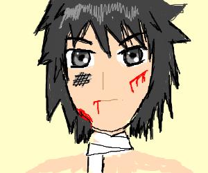 Injured anime boy