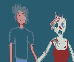 guy is out and about with zombie girlfriend