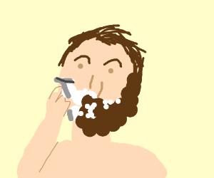 Guy shaves off his beard