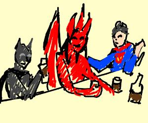 Superheroes having drinks with Satan