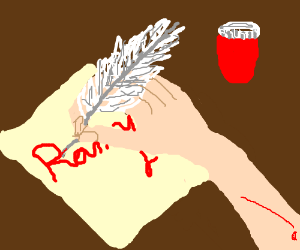 """Someone writes """"Ranny"""" in (his own?) blood"""