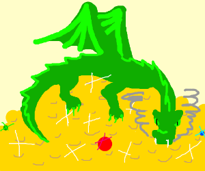 A green dragon with a hoard of treasure