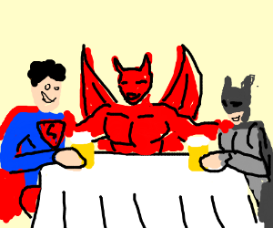Batman and Superman having drinks with Aianon