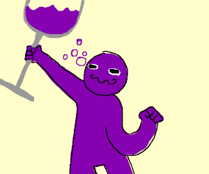 Purple man has a little too much wine