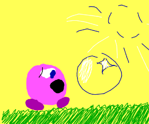 Kirby blowing bubbles, but not enjoying it. :(