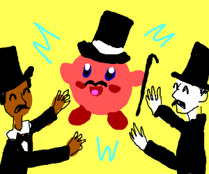 Kirby and two random guys wearing top-hats.