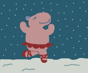 happy hipo dancing on snow