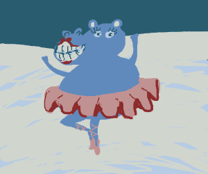 ballet hippo in snow