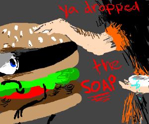 Hamburglar drops the soap
